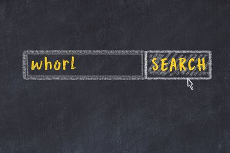 Concept of looking for whorl. Chalk drawing of search engine and inscription on wooden chalkboard