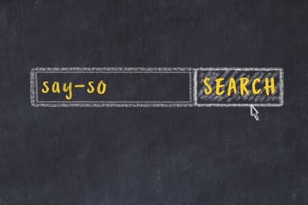 Concept of looking for say-so. Chalk drawing of search engine and inscription on wooden chalkboard