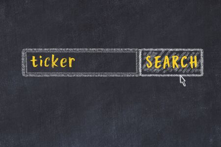 Drawing of search engine on black chalkboard. Concept of looking for ticker Фото со стока