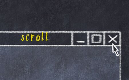 Chalk sketch of closing browser window with page header inscription scroll