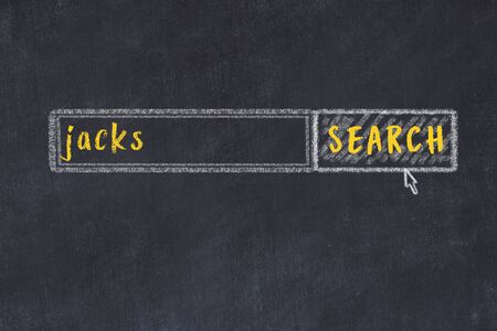 Drawing of search engine on black chalkboard. Concept of looking for jacks Zdjęcie Seryjne
