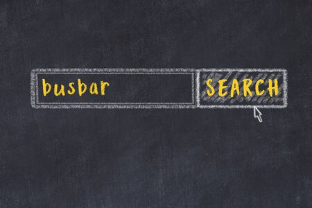 Concept of looking for busbar. Chalk drawing of search engine and inscription on wooden chalkboard