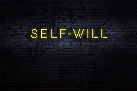 Neon sign with inscription self-will against brick wall. Night view