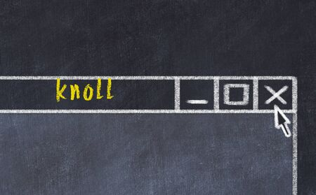 Chalk sketch of closing browser window with page header inscription knoll