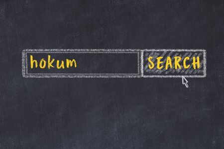 Concept of looking for hokum. Chalk drawing of search engine and inscription on wooden chalkboard