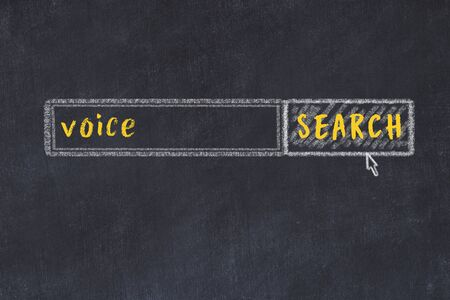 Drawing of search engine on black chalkboard. Concept of looking for voice