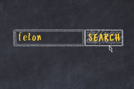Concept of looking for felon. Chalk drawing of search engine and inscription on wooden chalkboard