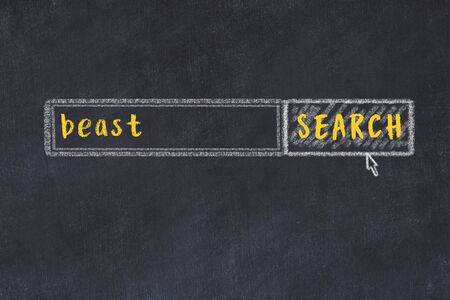 Drawing of search engine on black chalkboard. Concept of looking for beast 版權商用圖片