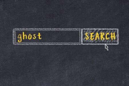 Concept of looking for ghost. Chalk drawing of search engine and inscription on wooden chalkboard
