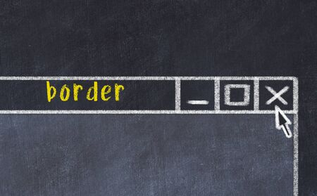 Closing browser window with caption border. Chalk drawing. Concept of dealing with trouble
