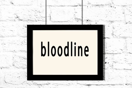 Black wooden frame with inscription bloodline hanging on white brick wall