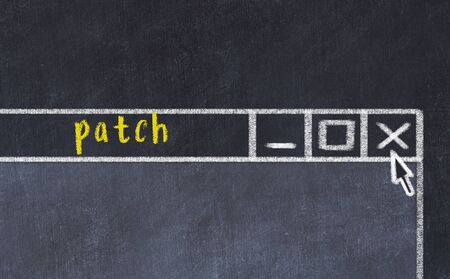 Chalk sketch of closing browser window with page header inscription patch