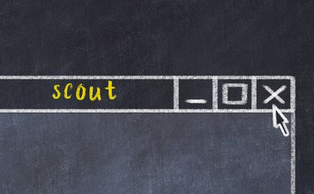 Chalk sketch of closing browser window with page header inscription scout