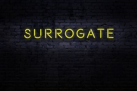 Neon sign on brick wall at night. Inscription surrogate