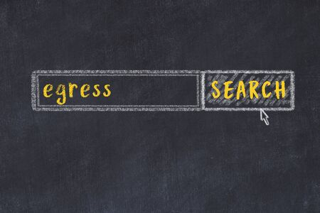Concept of looking for egress. Chalk drawing of search engine and inscription on wooden chalkboard
