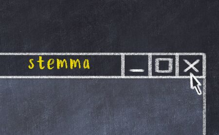 Chalk sketch of closing browser window with page header inscription stemma