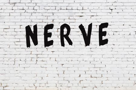 Word nerve written with black paint on white brick wall.