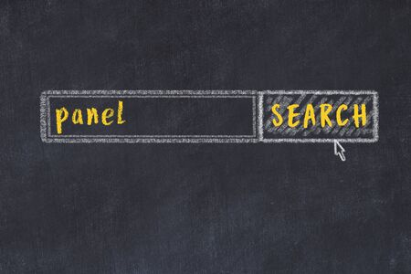 Drawing of search engine on black chalkboard. Concept of looking for panel