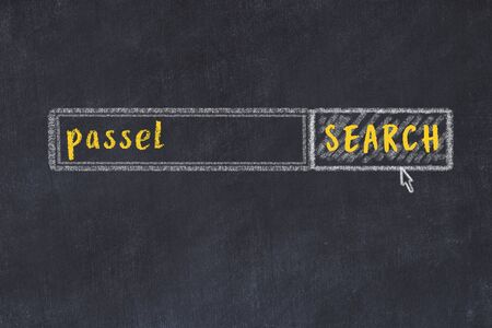 Concept of looking for passel. Chalk drawing of search engine and inscription on wooden chalkboard 版權商用圖片