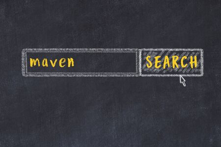 Concept of looking for maven. Chalk drawing of search engine and inscription on wooden chalkboard