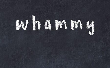 College chalkboard  with with handwritten inscription whammy on it 版權商用圖片 - 147916311