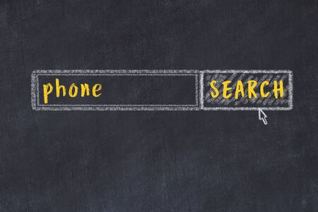 Concept of looking for phone. Chalk drawing of search engine and inscription on wooden chalkboard