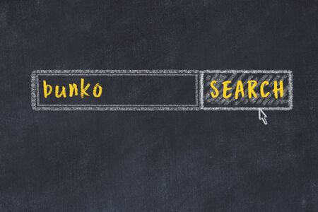 Drawing of search engine on black chalkboard. Concept of looking for bunko 版權商用圖片