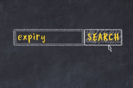 Drawing of search engine on black chalkboard. Concept of looking for expiry 版權商用圖片