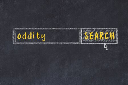 Drawing of search engine on black chalkboard. Concept of looking for oddity 版權商用圖片 - 147916371