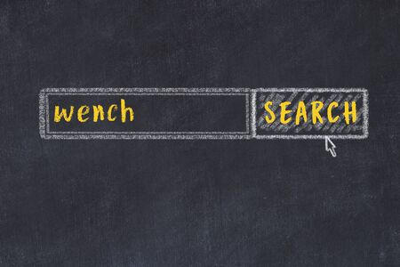 Drawing of search engine on black chalkboard. Concept of looking for wench 版權商用圖片