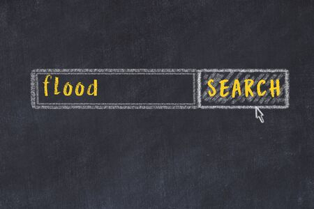 Concept of looking for flood. Chalk drawing of search engine and inscription on wooden chalkboard