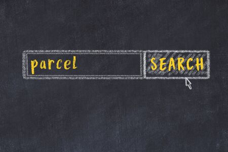 Concept of looking for parcel. Chalk drawing of search engine and inscription on wooden chalkboard