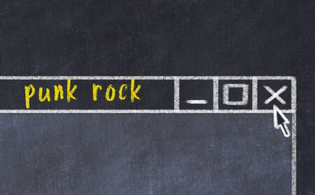 Chalk sketch of closing browser window with page header inscription punk rock