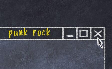 Chalk sketch of closing browser window with page header inscription punk rock 版權商用圖片 - 147916539