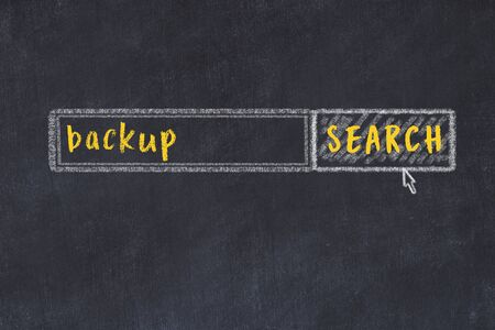 Drawing of search engine on black chalkboard. Concept of looking for backup