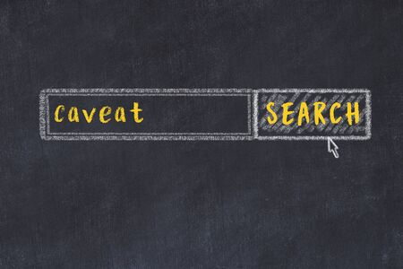 Drawing of search engine on black chalkboard. Concept of looking for caveat