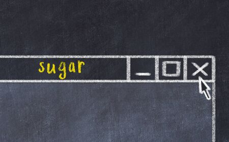 Chalk sketch of closing browser window with page header inscription sugar
