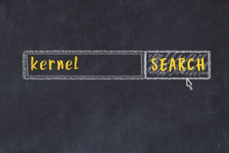 Drawing of search engine on black chalkboard. Concept of looking for kernel