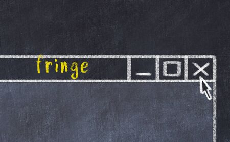 Chalk sketch of closing browser window with page header inscription fringe