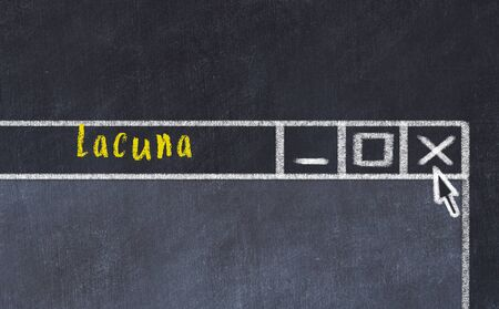 Chalk sketch of closing browser window with page header inscription lacuna