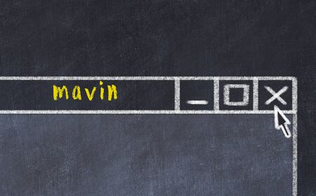 Chalk sketch of closing browser window with page header inscription mavin