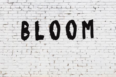 White brick wall with inscription bloom handwritten with black paint