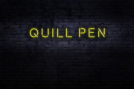 Neon sign on brick wall at night. Inscription quill pen