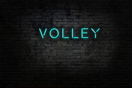 Night view of neon sign on brick wall with inscription volley