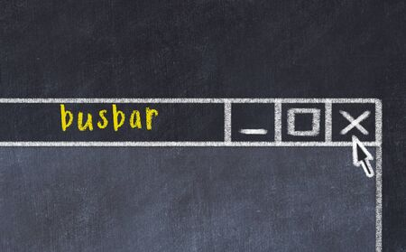 Closing browser window with caption busbar. Chalk drawing. Concept of dealing with trouble Stock Photo