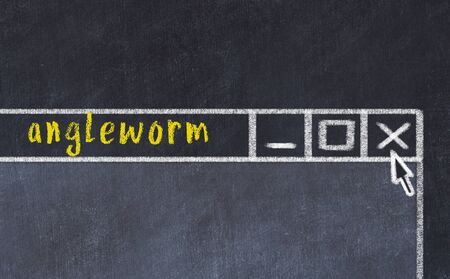 Chalk sketch of closing browser window with page header inscription angleworm