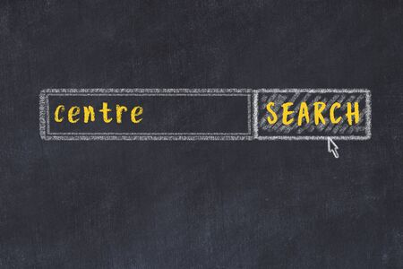 Drawing of search engine on black chalkboard. Concept of looking for centre