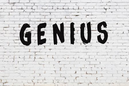 Word genius written with black paint on white brick wall.
