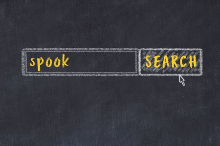Drawing of search engine on black chalkboard. Concept of looking for spook
