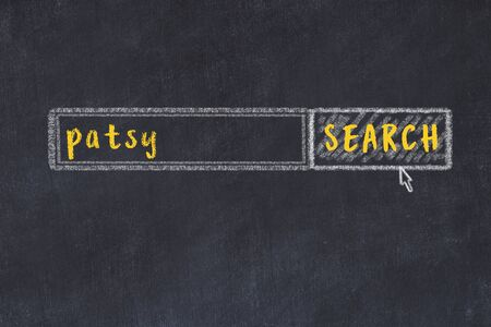 Concept of looking for patsy. Chalk drawing of search engine and inscription on wooden chalkboard
